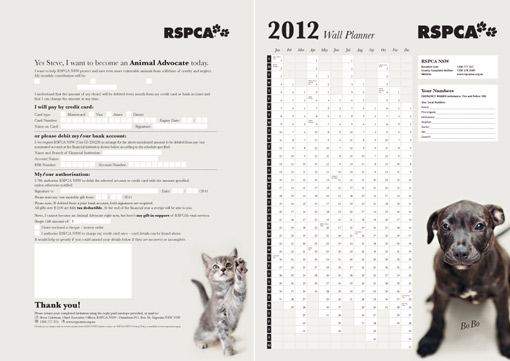 RSPCA Sydney Australia direct mail pack reply form design Cammeray