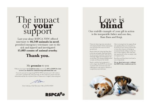RSPCA NSW Australia direct mail pack posters design Cremorne